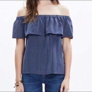 Madewell Silk Balcony Off the Shoulder Top